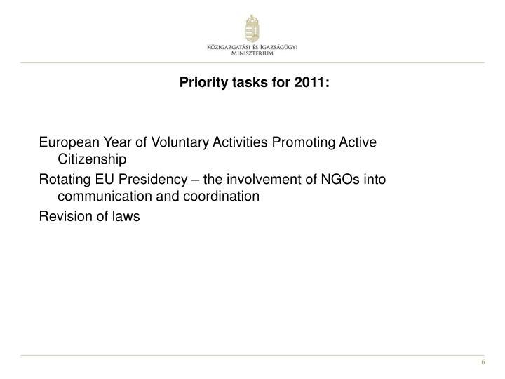 Priority tasks for 2011: