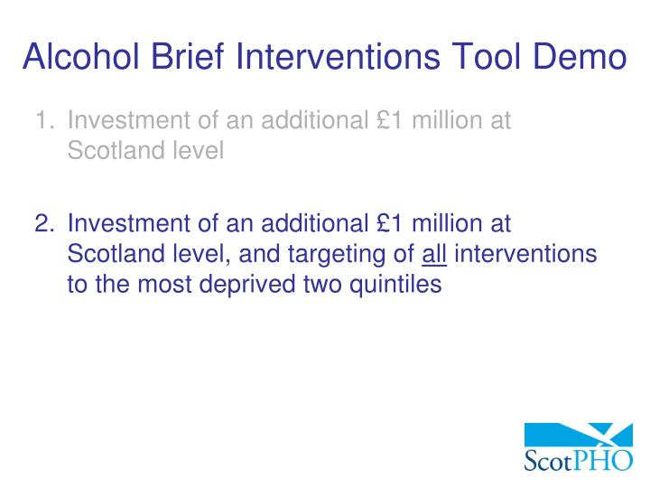 Alcohol Brief Interventions Tool Demo