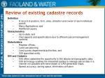 review of existing cadastre records