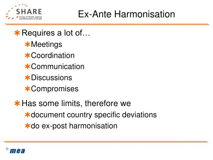 Ex-Ante Harmonisation