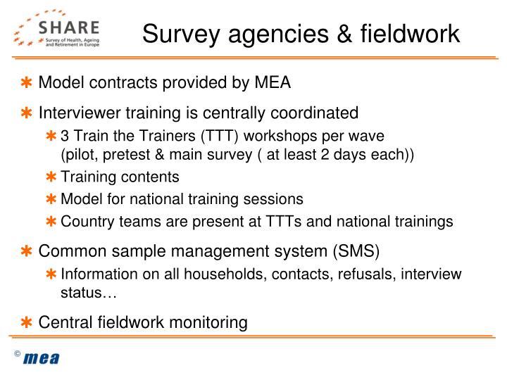 Survey agencies & fieldwork