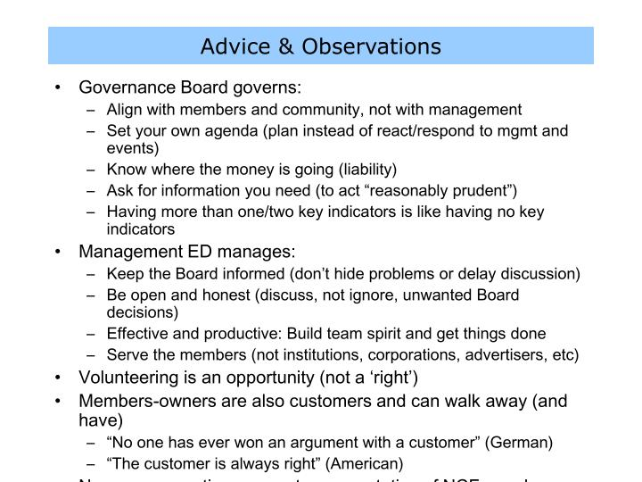 Advice & Observations