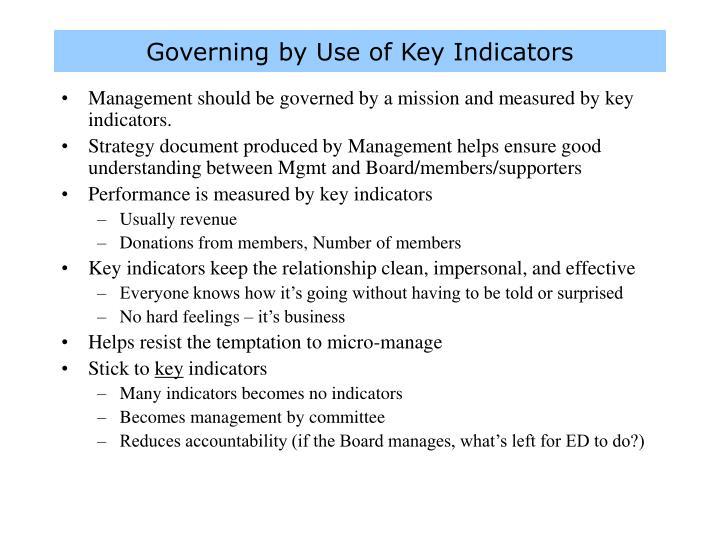 Governing by Use of Key Indicators