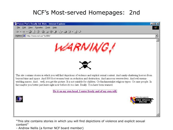 NCF's Most-served Homepages:  2nd