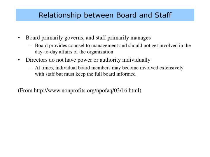 Relationship between Board and Staff