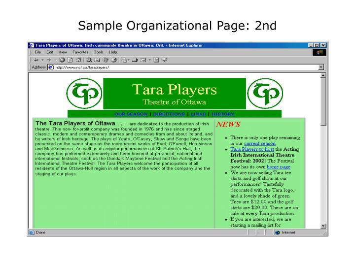 Sample Organizational Page: 2nd