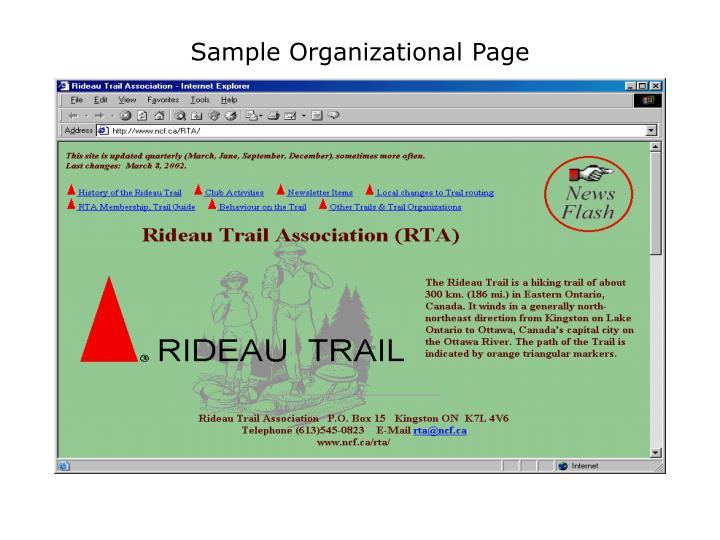 Sample Organizational Page