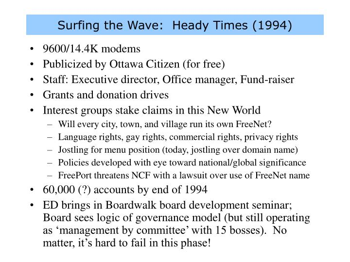 Surfing the Wave:  Heady Times (1994)