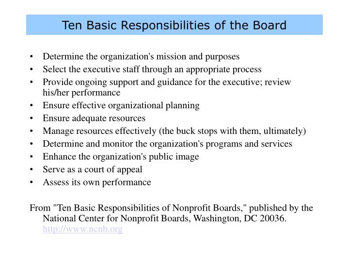 Ten Basic Responsibilities of the Board
