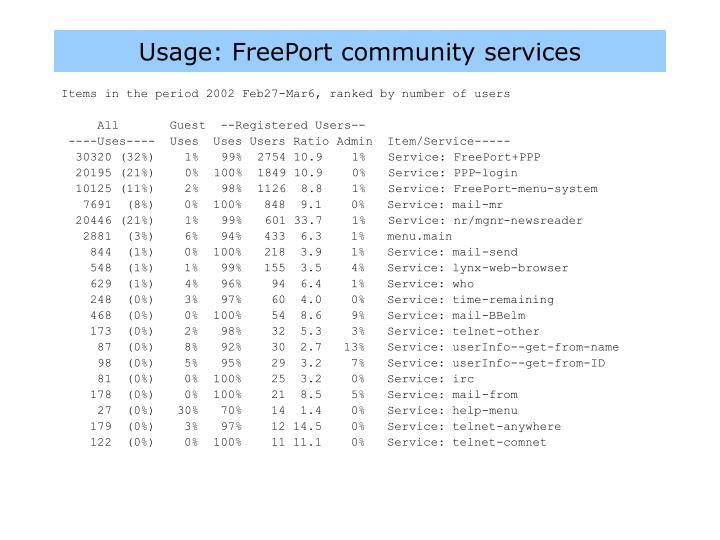 Usage: FreePort community services