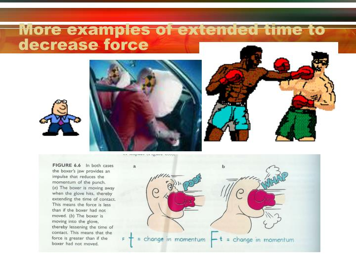 More examples of extended time to decrease force