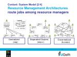 context system model 2 4 resource management architectures route jobs among resource managers