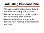 adjusting discount rate