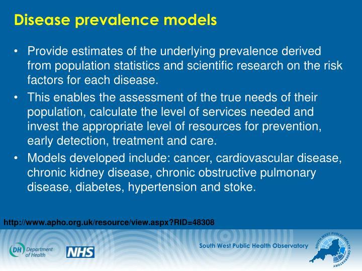 Disease prevalence models