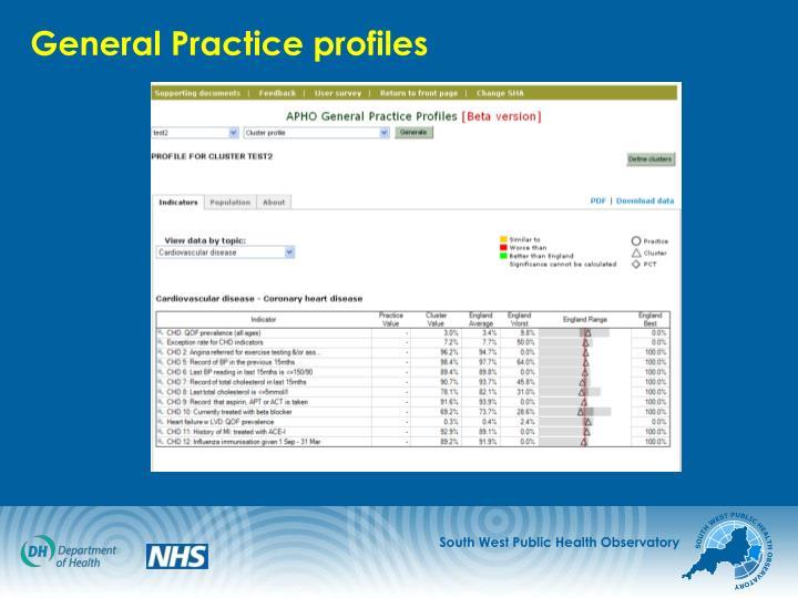 General Practice profiles