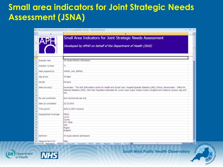 Small area indicators for Joint Strategic Needs Assessment (JSNA)
