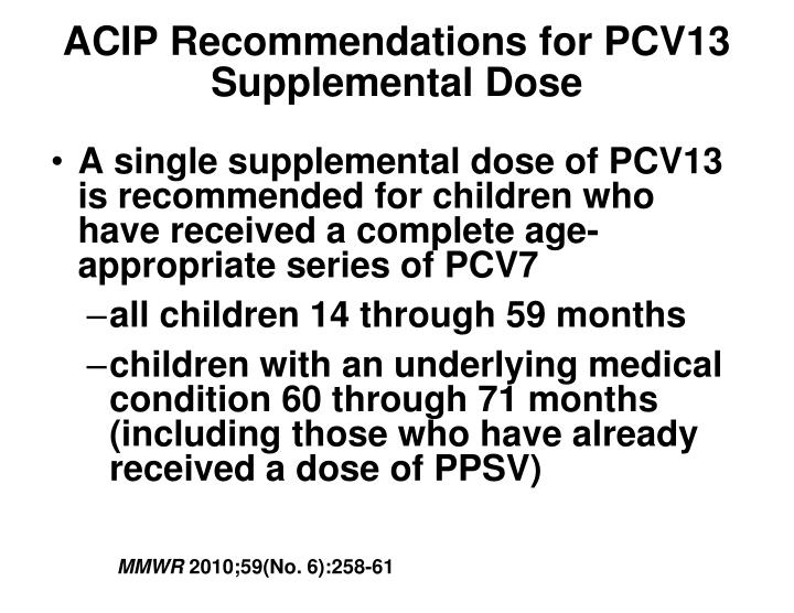 ACIP Recommendations for PCV13