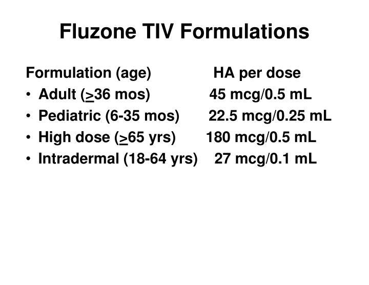 Fluzone TIV Formulations