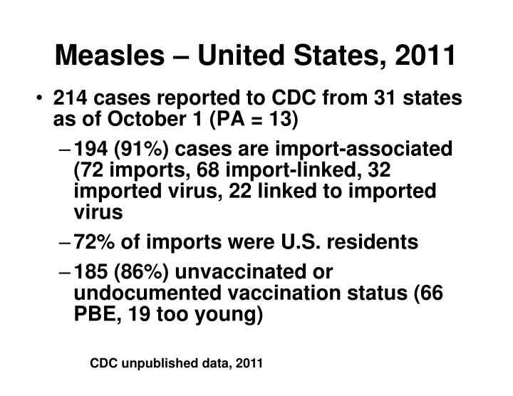 Measles – United States, 2011