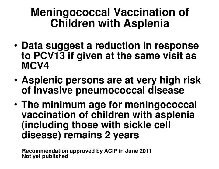 Meningococcal Vaccination of Children with Asplenia