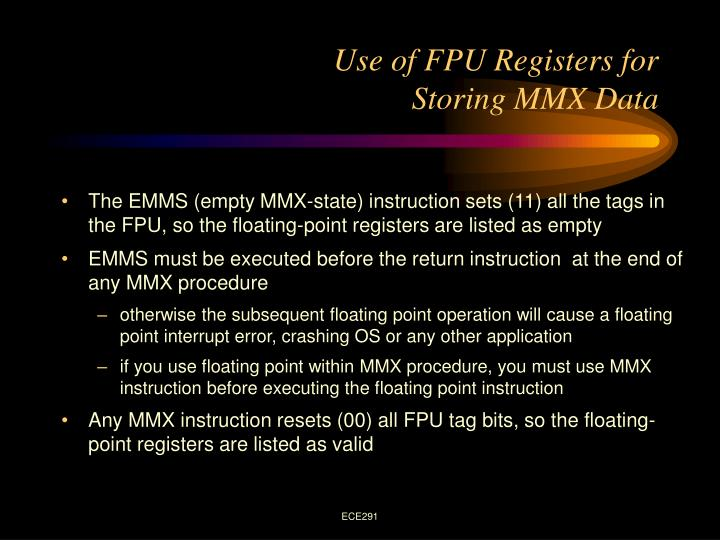 Use of FPU Registers for