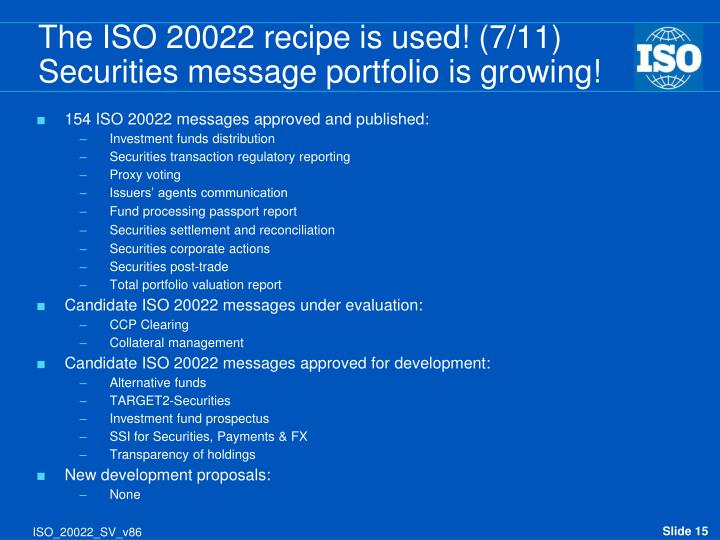 The ISO 20022 recipe is used! (7/11)