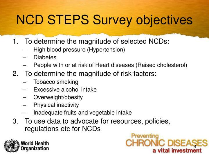NCD STEPS Survey objectives