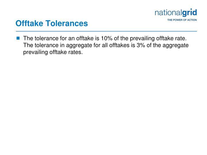 Offtake Tolerances