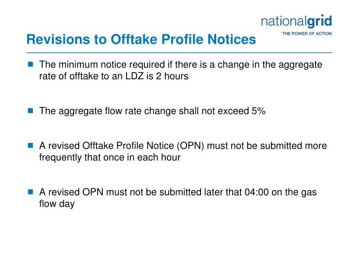Revisions to offtake profile notices1