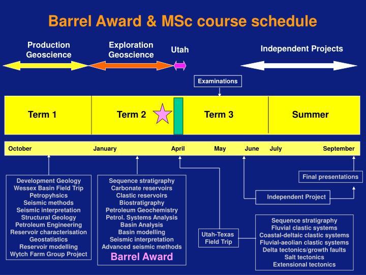 Barrel Award & MSc course schedule