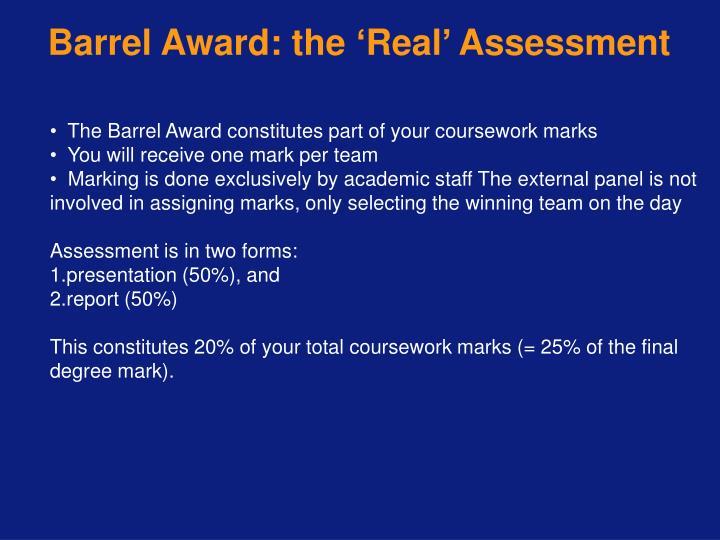 Barrel Award: the
