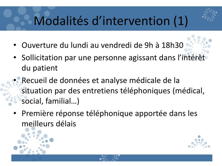 Modalités d'intervention (1)