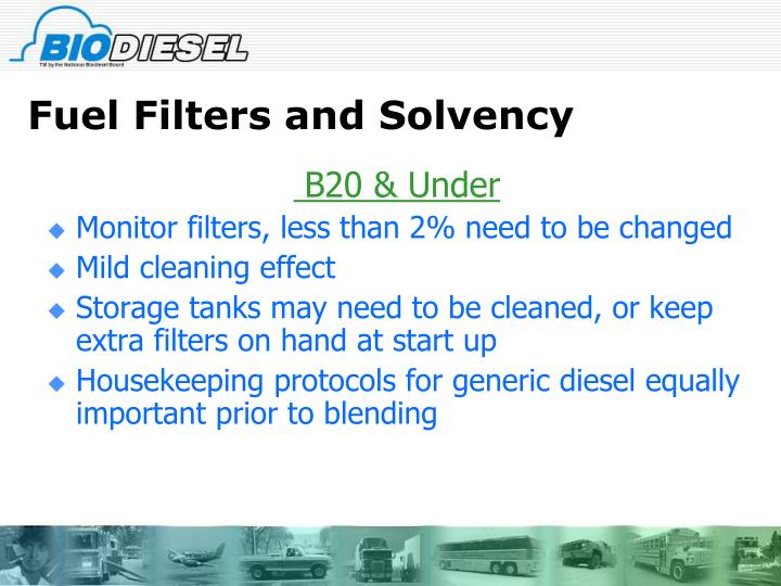 Fuel Filters and Solvency
