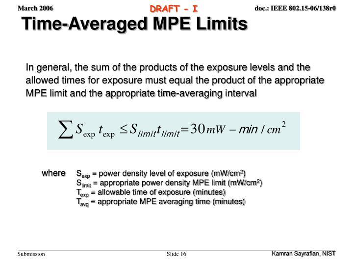 Time-Averaged MPE Limits