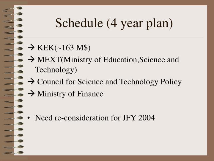 Schedule (4 year plan)