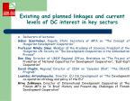existing and planned linkages and current levels of dc interest in key sectors1