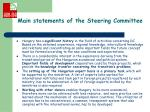 main statements of the steering committee