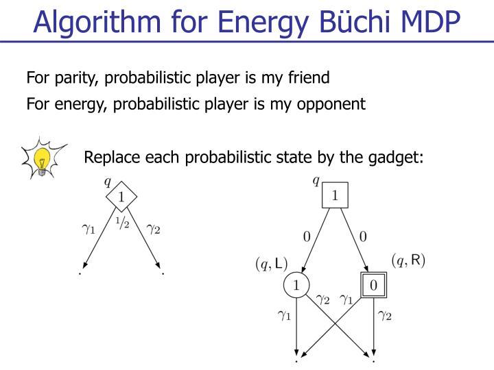 Algorithm for Energy Büchi MDP