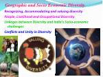 geographic and socio economic diversity