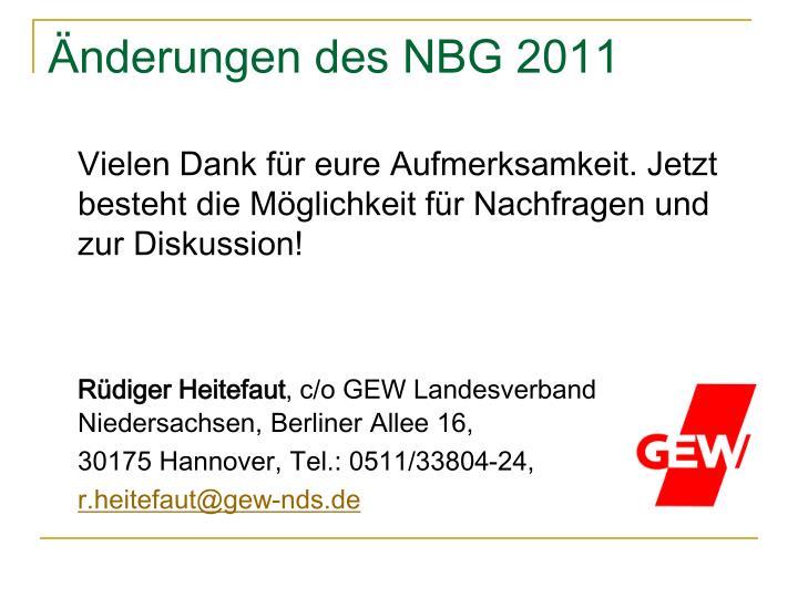 Änderungen des NBG 2011