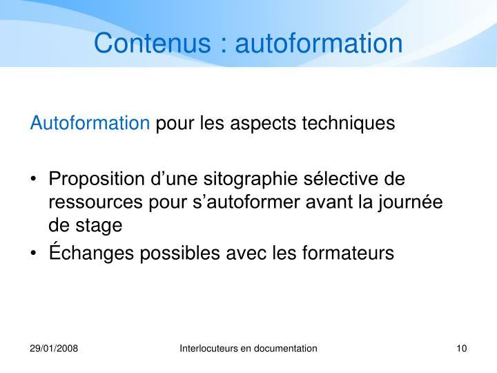 Contenus : autoformation