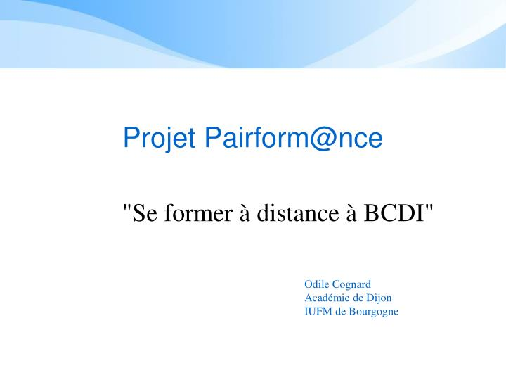 Projet pairform@nce
