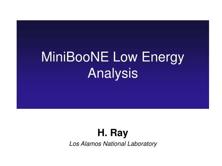 Miniboone low energy analysis