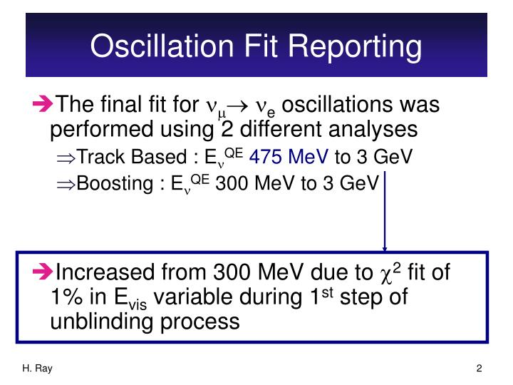 Oscillation fit reporting