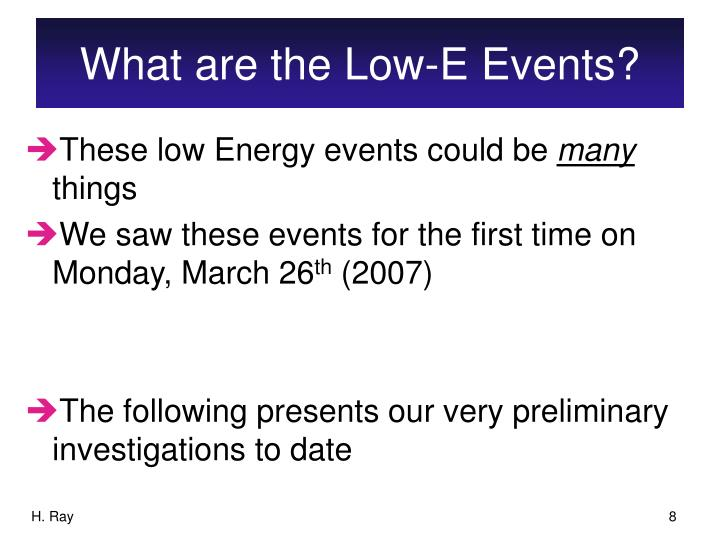 What are the Low-E Events?