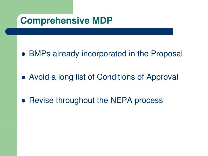 Comprehensive MDP