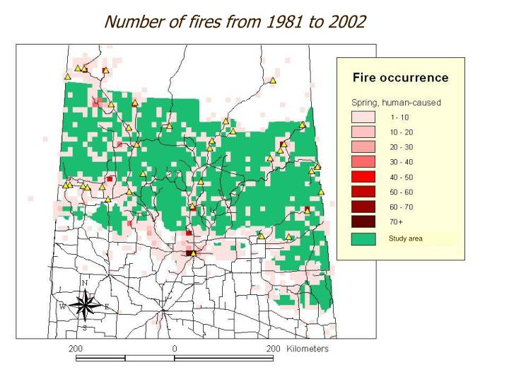 Number of fires from 1981 to 2002