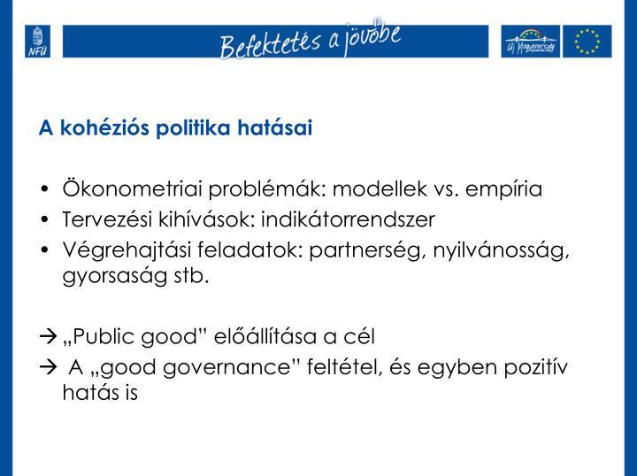 A kohéziós politika hatásai