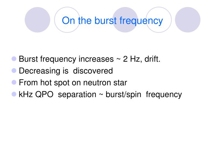 On the burst frequency