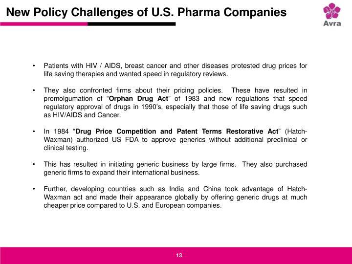 New Policy Challenges of U.S. Pharma Companies